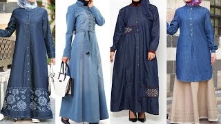 Stylish Denim Coat Abaya Fashion designs with hijaab | Simple Coat Abaya for Muslims Women