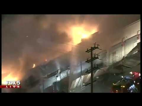 Massive fire at strip mall in Los Angeles County