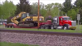 3 Lowboys and 3 CAT Excavators Mack Sterling Freightliner