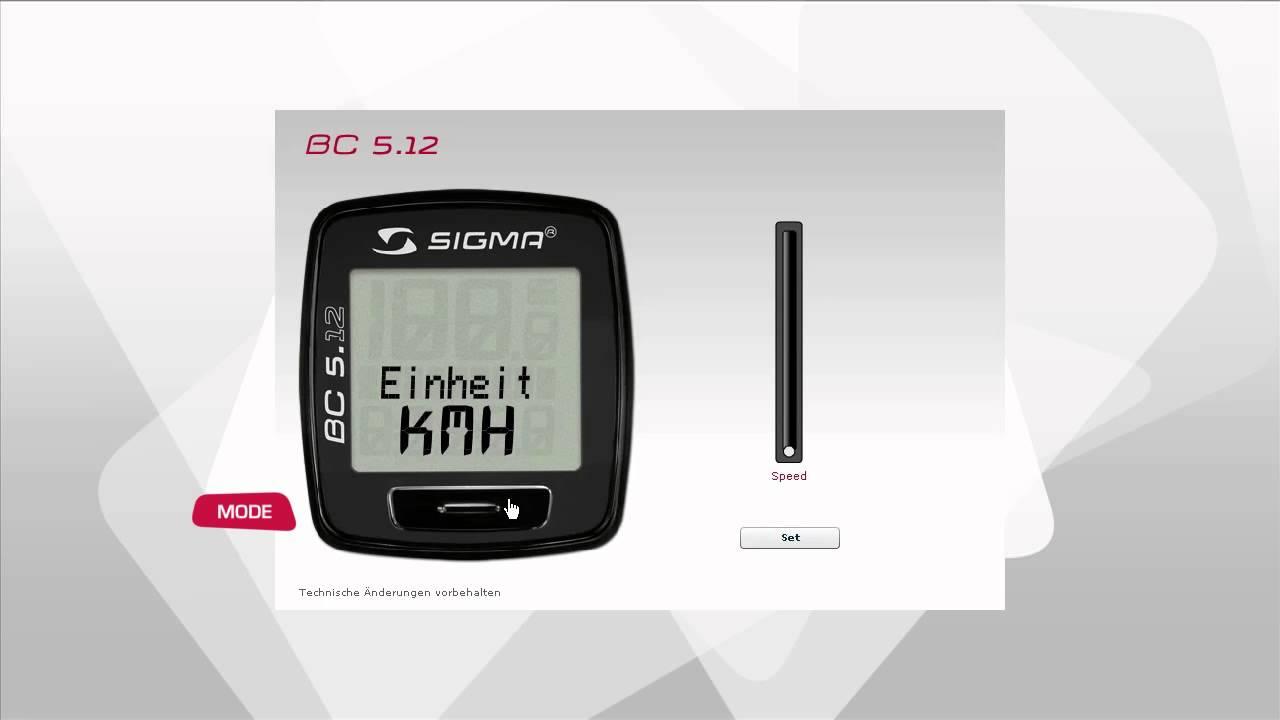 Sigma Sport  Bc 512  Einstellungen  Youtube