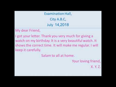 Write a letter to your friend thanking for birthday gift - YouTube