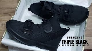 NIKE Lebron Soldier 13 SFG 'Triple Black' UNBOXING + CLOSER LOOK #ipromise #sfg #lebron #soldier13