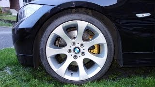 Gold calipers on black BMW 3 E90