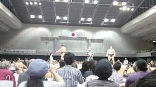 広島巡業の白鵬vs鶴竜です。 左側が白鵬で、白鵬の勝ち。 白鵬は立ち上...