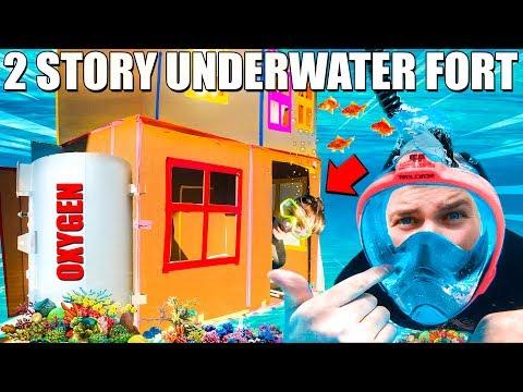 2 STORY UNDERWATER BOX FORT CHALLENGE!!