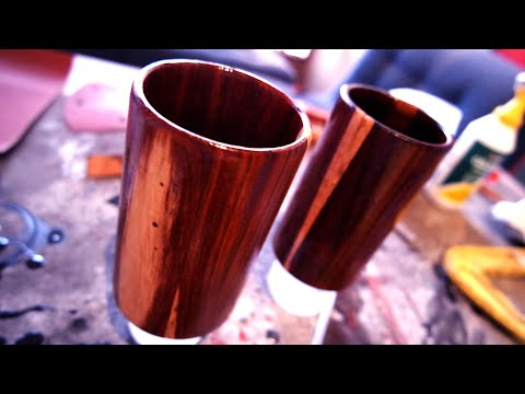 Wooden drinking glasses | Teak and epoxy