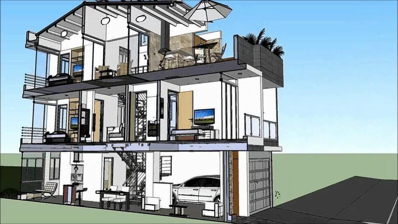 Casa de 3 pisos x m 220 m2 cortes youtube for Planos de casas de 3 pisos