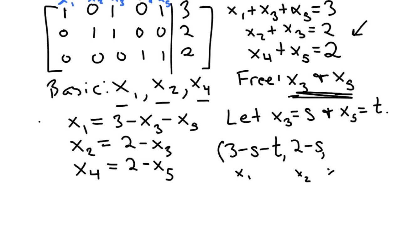 Writing the solution set of a dependent system in parametric form ...