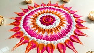 How to draw SMALL BEAUTIFUL Festival Rangoli Designs for Diwali 2018| Simple Kolam|Tricky Muggulu!