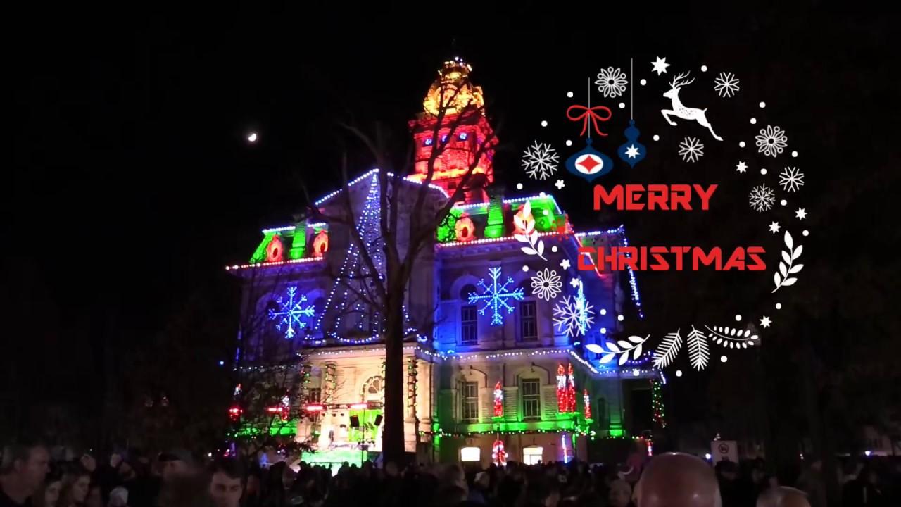 Newark Ohio Courthouse Christmas lighting - YouTube