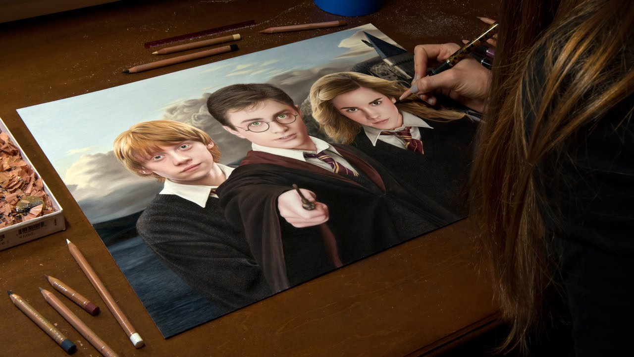 Drawing harry potter ron weasley and hermione granger - Harry potter hermione granger ron weasley ...
