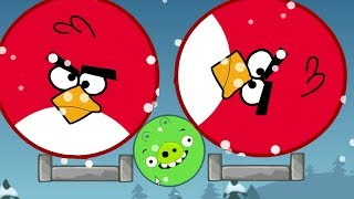 Angry Birds Kick Out Green Piggies - TWO HUGE ROUND BIRDS SQUASH THE TINY PIGGIES!