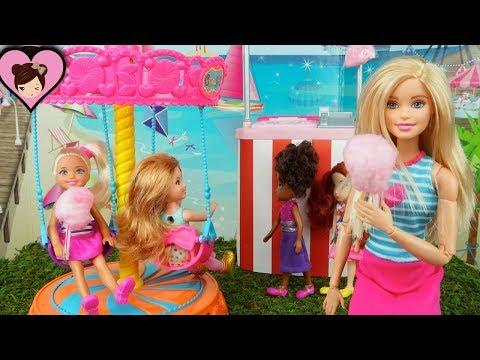 Barbie Chelsea Goes to The Park & Carousel - Chelsea Skateboards &  Breaks her Leg