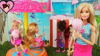 Barbie Chelsea Goes to The Park & Carousel - Chelsea Skateboards &  Breaks her Leg