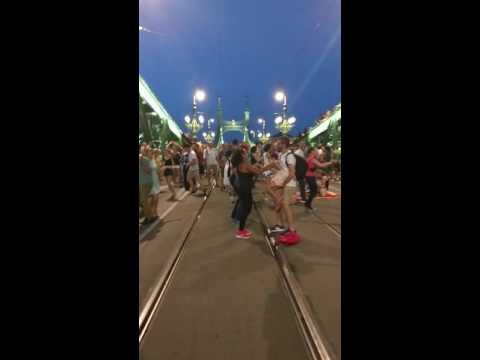 Salsa on the bridge. Budapest. Family dance!!!