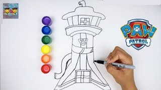 Draw and Paint Paw Patrol Look Out Tower Learning Video for Kids!