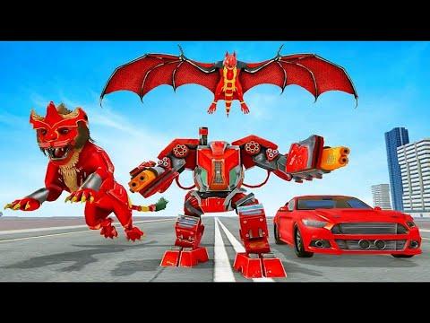 Download Lion Robot Car Game 2021 - Flying Bat Robot Game - Android Gameplay