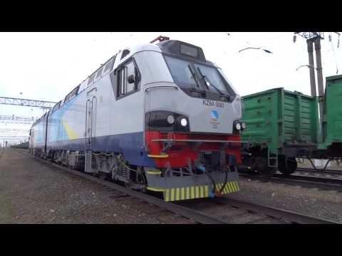 Alstom KZ8A - new kazakh 8axle freight loco - first run!