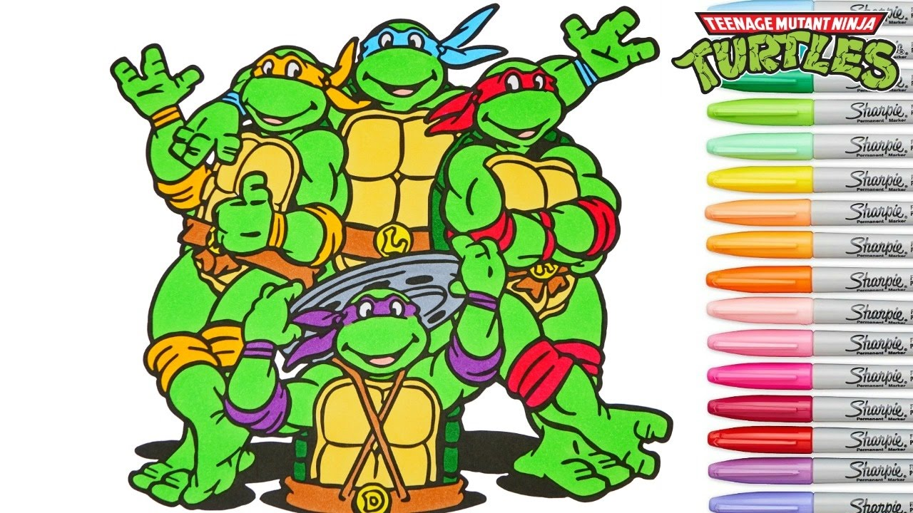 Teenage mutant ninja turtles coloring book tmnt colouring pages superhero rainbow splash youtube