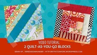 2 Quilt-as-you-go (QAYG) quilt blocks