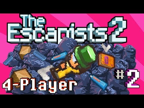The Escapists 2: 4-Player - H.M.P. Offshore - Price's Trash Pile (4-Player Gameplay)