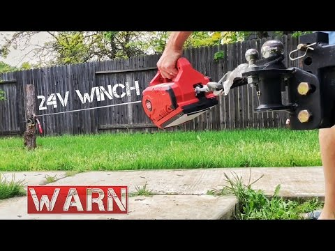 WARN Cordless PullzAll 24V Cordless Winch Testing out on Stump Removing