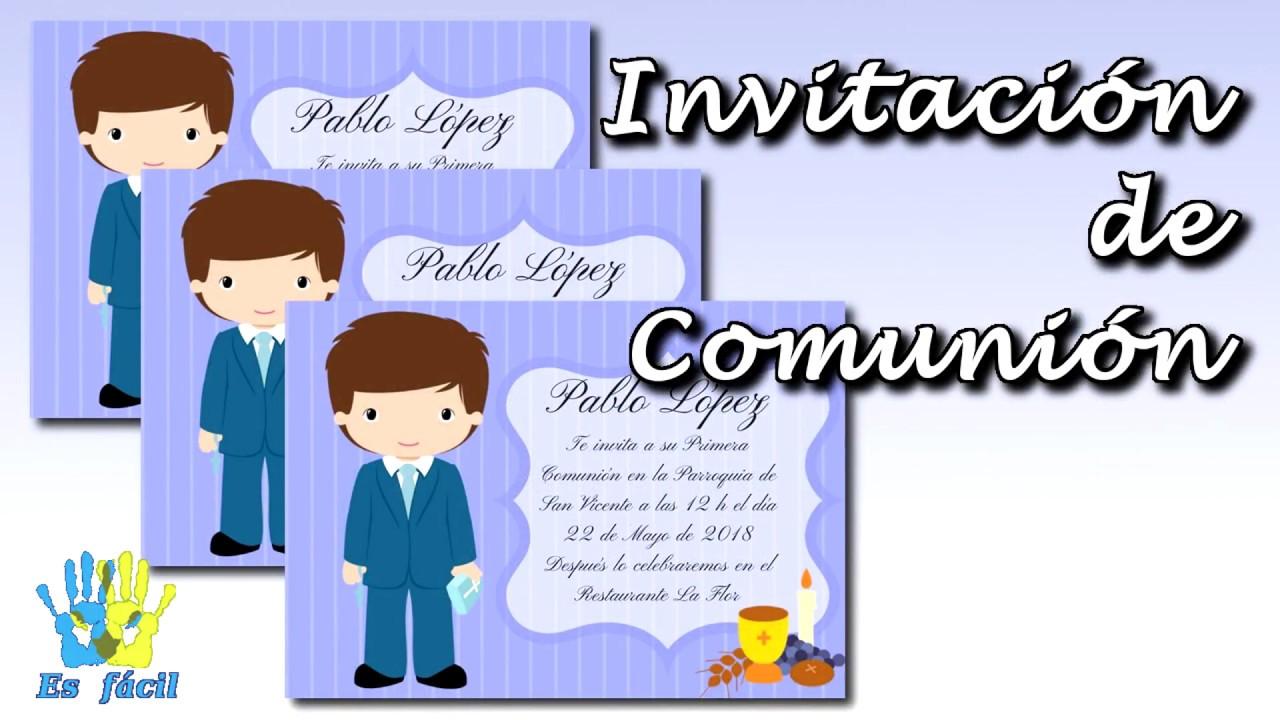 Cómo Hacer Una Invitación Para Comunión Gratis First Communion Invitation