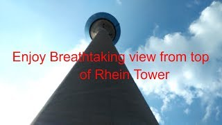 rhein tower dusseldorf germany - view from the top of the rhine tower in dusseldorf, germany