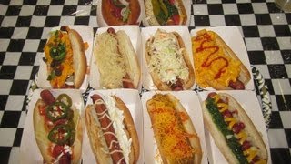 10 FULLY LOADED Gourmet HOT DOGS Challenge!!