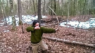 Making A Survival Long Bow With Only A Knife