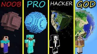 Minecraft Battle: NOOB vs PRO vs HACKER vs GOD: BUILDING PLANET in Minecraft MAP!