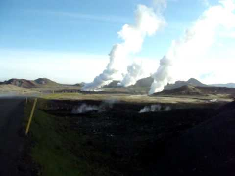 Geothermal well field at Hellisheiði Geothermal Plant