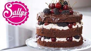 Naked Cake: Schokoladentorte mit Mascarponecreme, Kirschen und Brombeeren / mit Alex