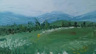 """Картина масло """"Вид на Уральские горы"""""""