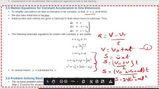 AP College  Physics Chapter 1 summary, part 4 , Equations of motion