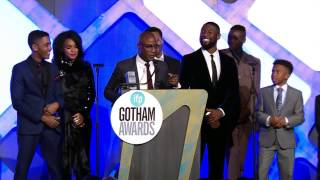 Barry Jenkins and team winning the Audience Award for MOONLIGHT at the 2016  IFP Gotham Awards