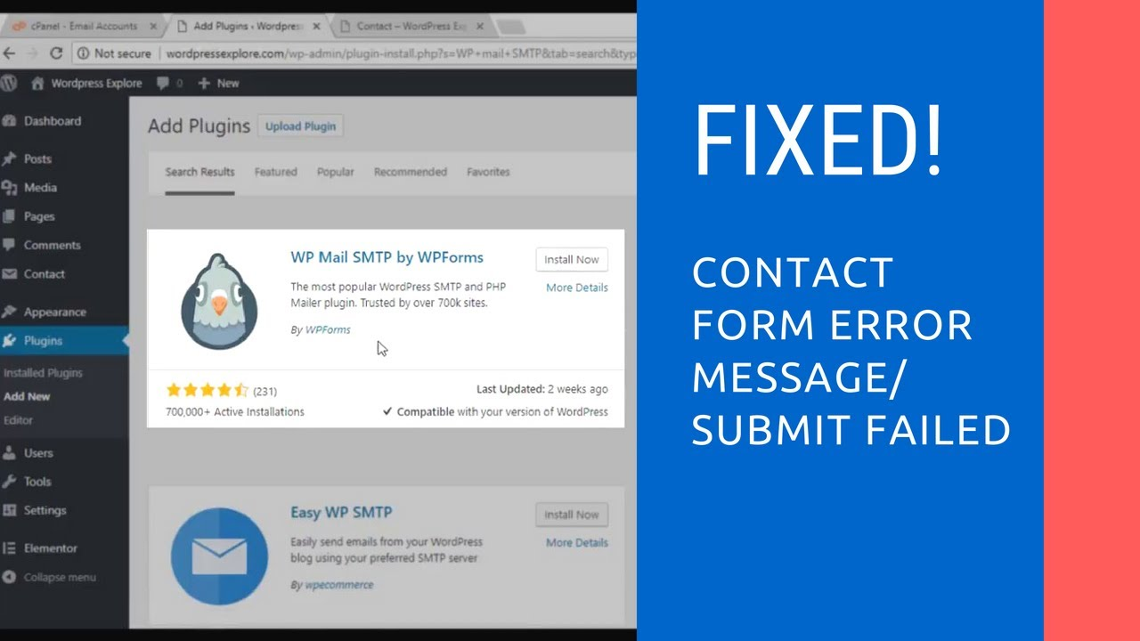 Fix! There was an error trying to send your message  Contact form error  message | Wordpress