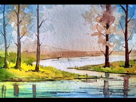 How to draw landscape with trees and reflection on water - watercolor painting