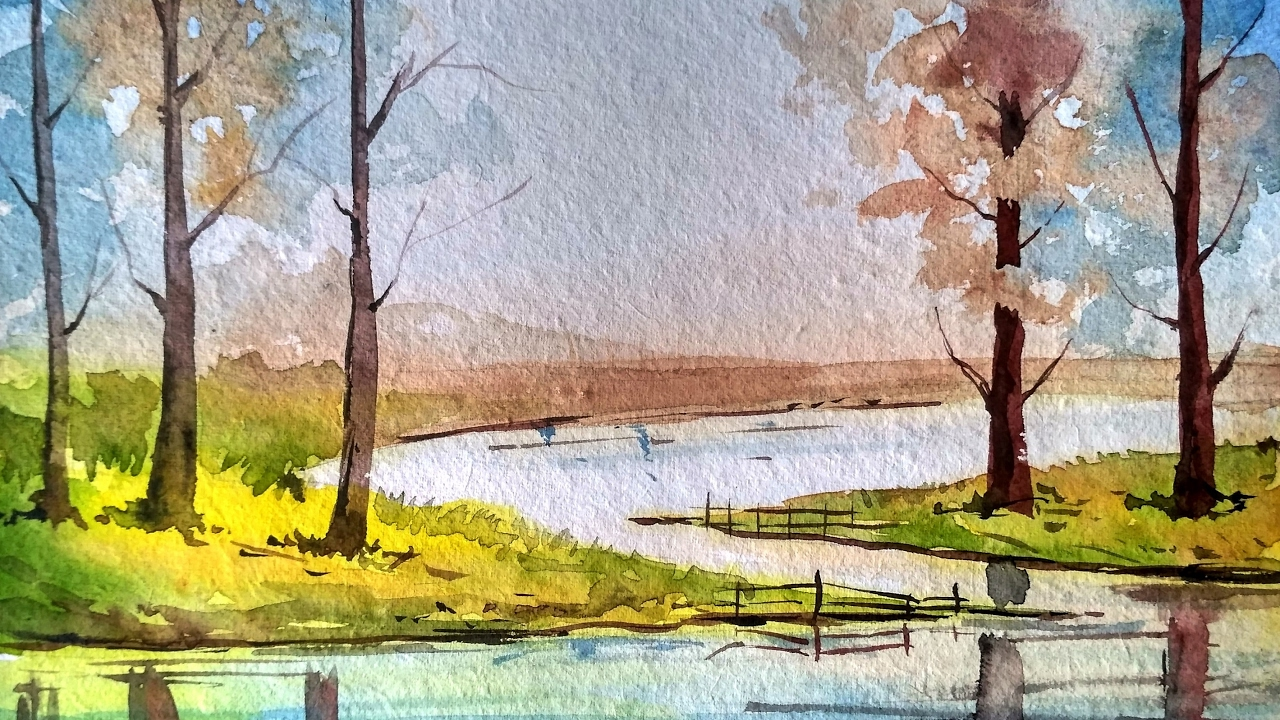 How to draw landscape with trees and reflection on water ... |Tree Landscape Drawing