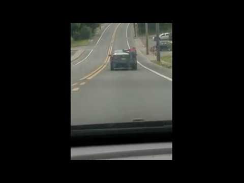 Person Hangs Off Back of Moving Car || ViralHog