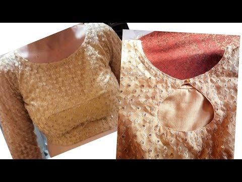 Desiner net blouse cutting an stiching with zip
