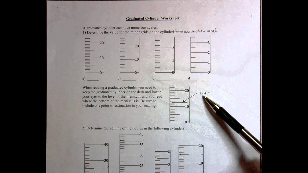 Graduated Cylinder Worksheet
