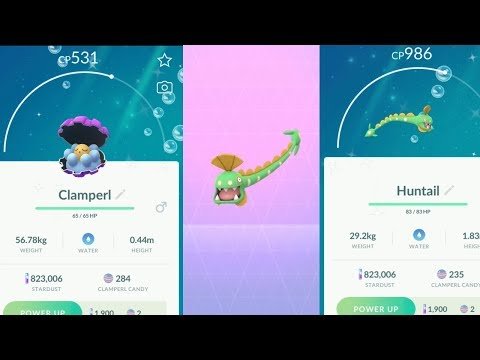 Evolving Shiny Clamperl Into Shiny Huntail - Pokemon Go Clamperl Limited Research Day