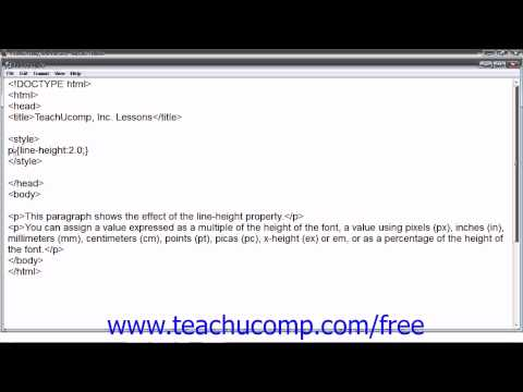 HTML5 And CSS3 Tutorial Line Spacing (Leading) Training Lesson 15.9