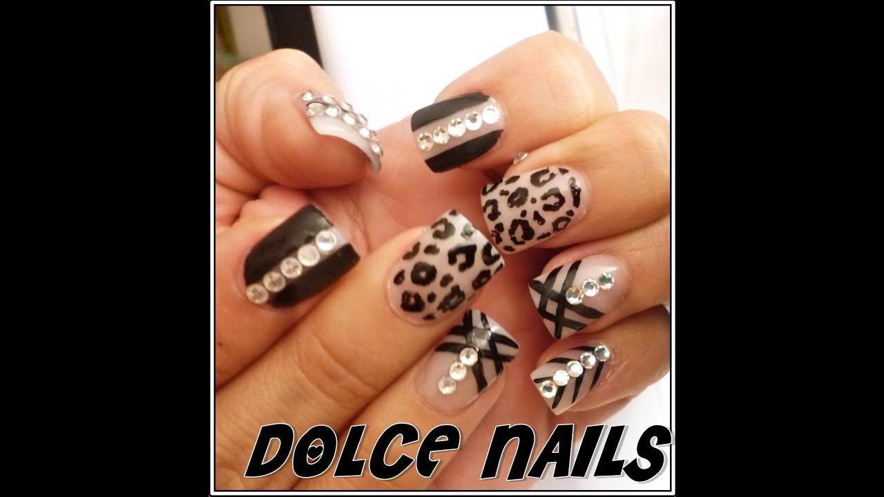 Dolce Nails uñas acrílicas/leopardo.lineas
