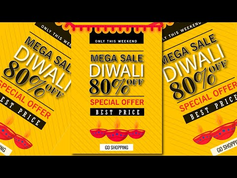 Diwali Poster Design   Diwali Flyer Design   Diwali Banner Design   illustrator Tutorial thumbnail