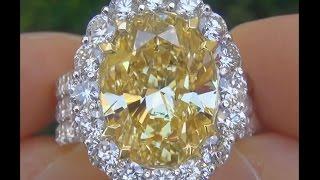 DIVORCE AUCTION - GIA Certified 12.32 Carat Fancy Yellow Diamond Engagement Wedding Ring 18k Gold HD