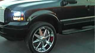 "CUSTOM FORD EXCURSION WALK AROUND,26""DUBS,HARLEY DAVIDSON FRONT END"