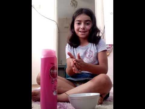 Şampuan kabartma tozu ile slime