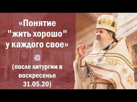 """ПРОПОВЕДЬ: «Понятие """"жить хорошо"""" у каждого свое» (после литургии в воскресенье 31.05.20)"""